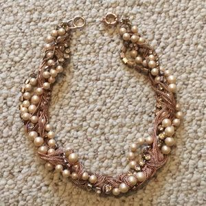 Rose gold pearl and rhinestone necklace
